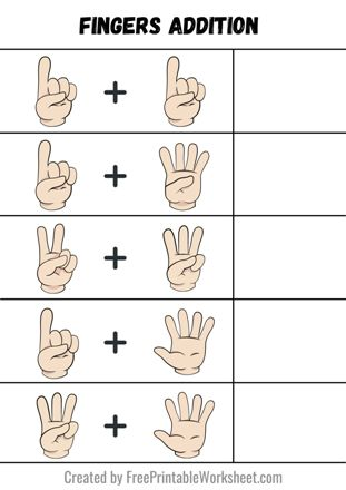 Addition using fingers worksheets