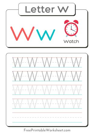 Letter W Tracing