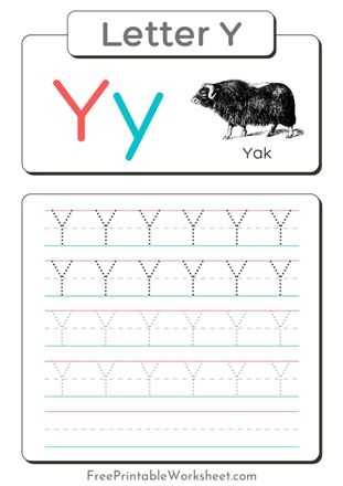 Letter Y Tracing