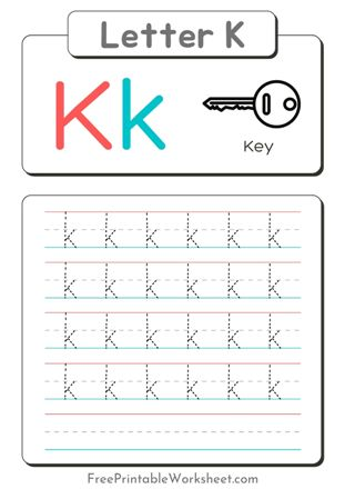 Small Letter k Tracing