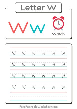 small Letter W Tracing