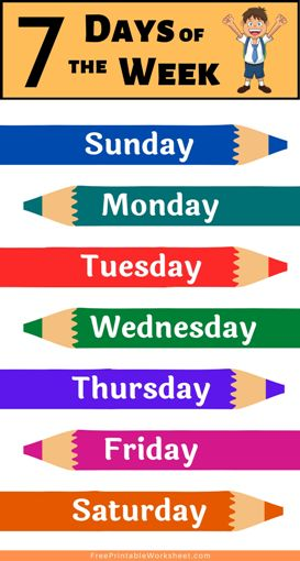 Days of the week chart PDF