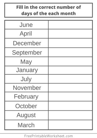 Months of the year worksheets printable