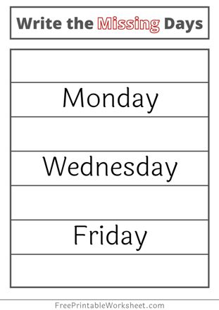 Days of the Week worksheets Grade 2