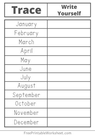 Free Tracing months of the year Worksheets