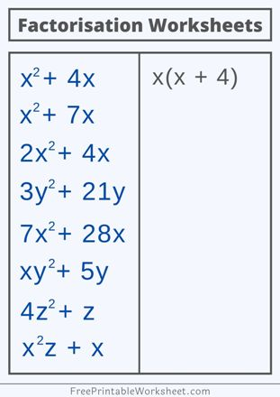 Factorisation worksheets with answers pdf