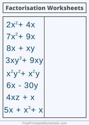 Factorization Worksheets PDF with Answers