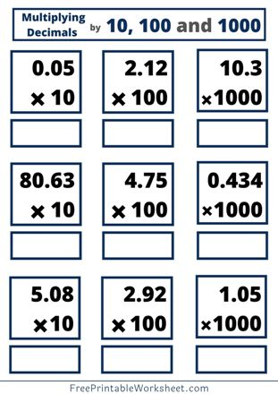 Multiplying Decimals by 10, 100 and 1000