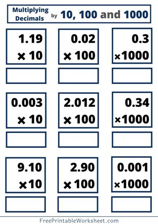 multiplying decimals by 10, 100 and 1000 worksheet with answers